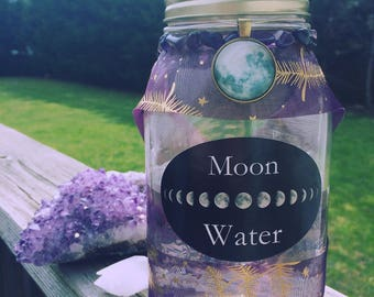 Moon Water Jar For Cleansing, Blessing, Spells, Rituals ~ Magick