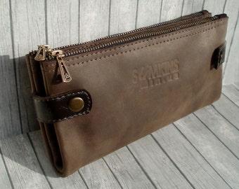Brown leather wallet zipper card holder men's leather wallet  Purse phone convenient large folding Purse travel long wallet leather clutch