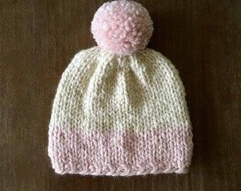 baby pink and cream beanie/baby pink pom pom hat/handknit beanie