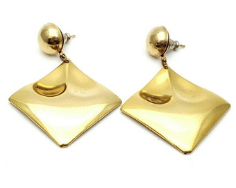 Gold tone Metal Square Drop Earrings Dangle from the 90s