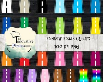 Road Clipart - road clip art - street clip art - car favor tags - race car clipart - racecar clipart - road trip clipart - race lane - auto