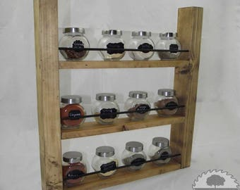 Wooden Spice Rack - Kitchen Storage - Shelf - Holder - Rustic - handmade - wall mounted - chef - stroage rack - spices - freestanding
