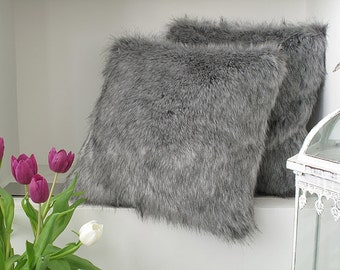 Grey Squirrel faux fur cushion covers, cushions, pillow covers in choice of 2 sizes. Matching throws available.
