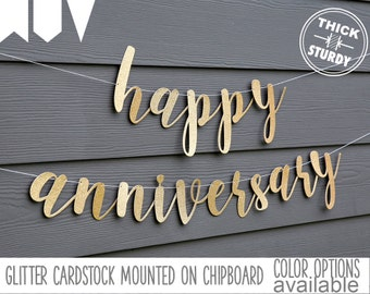 happy anniversary banner, gold glitter party decorations, cursive banner