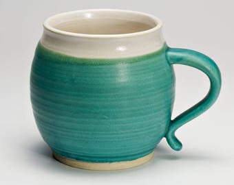 Hand Thrown Turquoise Blue Stoneware Mug