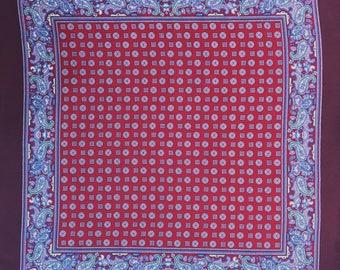 Maroon Patterned Silk Pocket Square