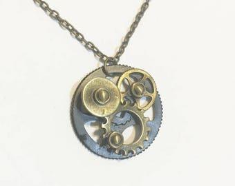 Steampunk Pendant Antique Bronze Chain Necklace  - Pendant Necklace -vintage style necklace