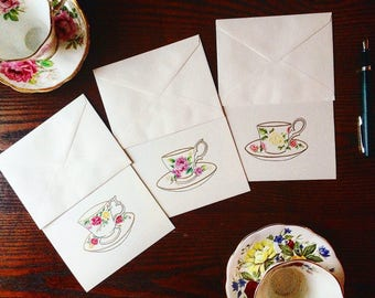 It's High Tea-Time Note Card Set, Set of 6 Cards Featuring Hand Drawn Illustrations, Note Card Set, Gift for her