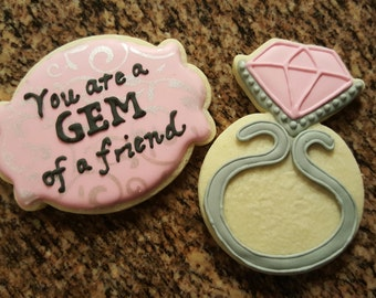 Valentine's Day GEM of a friend Diamond Sugar Cookies Royal Icing - Set of 2