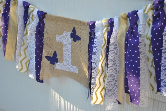 PURPLE and GOLD Birthday, BUTTERFLY birthday, highchair banner, 1st birthday, first birthday banner