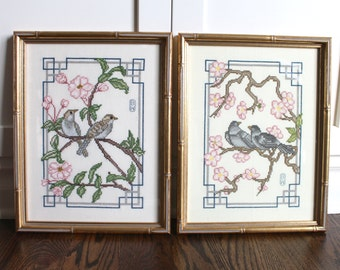 Pair of Framed Needlepoint Birds, Faux Bamboo Frame, Chinoiserie