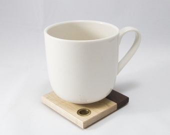 Walnut and curly maple wood drink coasters - handmade set of 4 with holder
