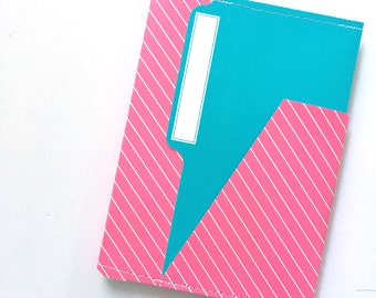 TN 6 Pocket Folder Blue Pink Stripe 7x5
