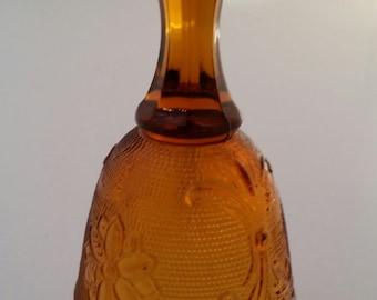 Tiara Exclusives Amber Sandwich Bell/ Tiara/Indiana Glass/Amber Tiara/Amber Indiana Glass/Glass Bell/Amber Glass Bell/Tiara Glass Bell/Bell