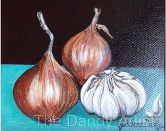 Still life original oil painting of onions and garlic