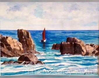 Seascapewith sailboat original watercolour painting of Plougrescant Bretagne France.