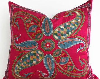 SALE ! -Silk Hand Embroidered Pillow Uzbek Suzani Pillow Red Decorative Suzani Pillow Red  Pillow Suzani Cushion Suzani Embroidered Pillow