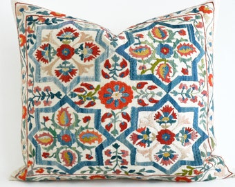 SALE 30% - Silk Suzani Pillow Cover, Blue Beige Hand Embroidered Vintage Pillow, Decorative Pillows For Couch - Throw Pillow - Accent Pillow