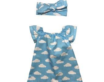 Cloud Blue Elasticated Top Dress & Head Bow Set