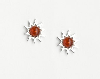 Earrings Amber and Silver