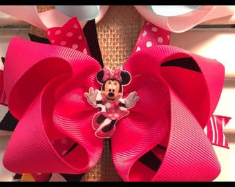 Pink and black Minnie Bow