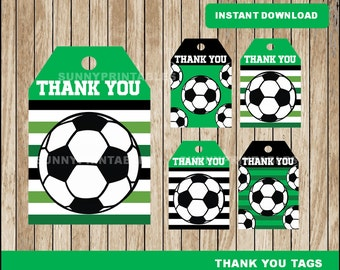 Soccer tags; printable Soccer Thank you Tags, Soccer party tags instant download