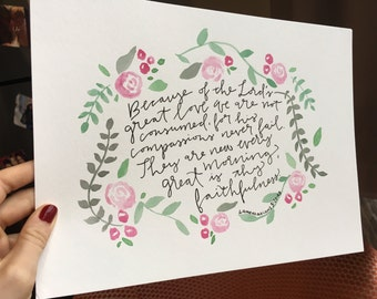 Pink and green floral Lamentations 3 quote