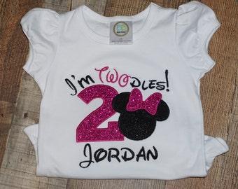 Wonderful minnie shirt/ My 2nd birthday shirt/ Pink Im Twodles Shirt/minnie head custom shirt/im twodles