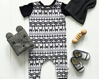 Llama Aztec Monochromatic Harem Romper Come Home Birthday Outfit  Modern Clothes Boy Girl Outfit Hipster Baby Toddler Pajama