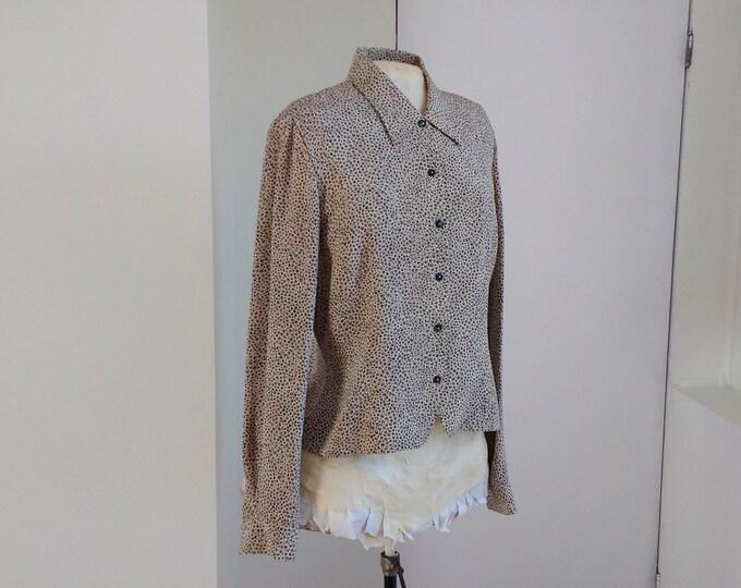 Dana Buchman blouse, leopard print silk jacket, 100% silk blouse, blazer, designer fashion UK size 10, suitable for work or play