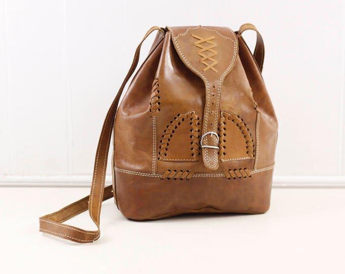 Brown leather shoulderbag, vintage handmade backpack model purse, boho style shoulder bag, cross body bag, unusual leather handbag