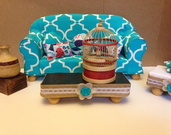 """SOLD 18"""" Doll furniture, doll couch, coffee table, ottoman, living room"""