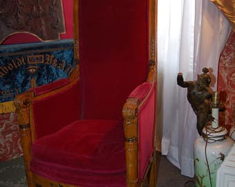 Charming Pair Of Neo Classical High Back Red Velvet Covered Armchairs, Minor Flaws,