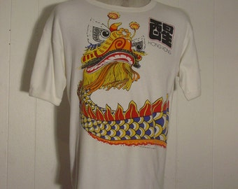 T-shirts, vintage, 1980s, Hong Kong, Dragon, Creation West Productions, Large