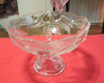 "Vintage Cherry Blossom Glass Compote, 8"" Diameter"