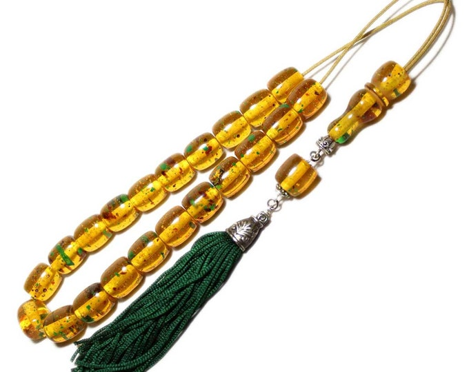 Worry Beads, Greek Komboloi, Champagne-Green Amber color, Barrel shape beads, Handmade dark Green color tassel, Relaxation, Meditation.