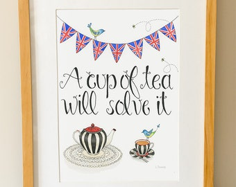 Original Watercolor, Cup Of Tea Illustration, Tea Art, Tea Quote, Kitchen Art, British, Tea Lover Gift, Tea Wall Art, Tea Watercolour