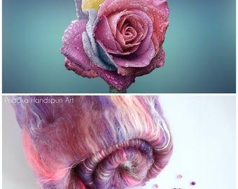 COLORFUL ROSE - Spinning batt - 19-21 micron Merino wool - Tussah Silk - Angelina - Pink Violet - 100g - 3.5oz