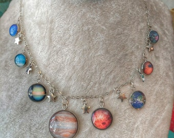 Silver Solar System Necklace (w/Pluto!) Available With or Without Stars