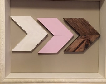 White pink brown chevron (set of 3)