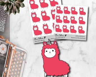 Pink Llamacorn - Original Hand Drawn Planner Stickers. Cute, Doodle, Happy Planner, Erin Condren, Travelers Notebook