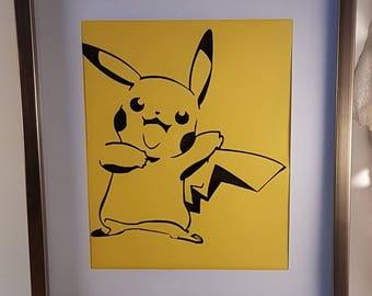 Pikachu handcut paper art
