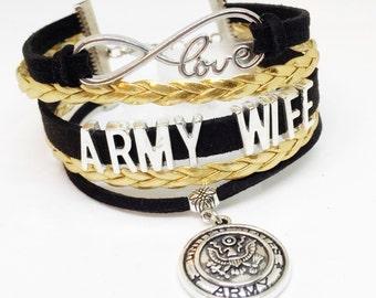 Army Wife, Army Wife Bracelet, Army Jewelry, Army, Valentines Day Gift, Army Valentine, Gift for Wife, Military Wife, Deployment Gift