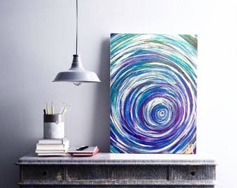SALE Blue Spiral Abstract Acrylic Painting, Swirls, Original Art, Painting on Canvas, Blue Green Purple Silver, Unique Wall Decor, Art Gift