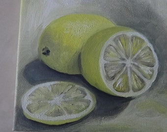 Original oil painting on canvas,,Lemon''