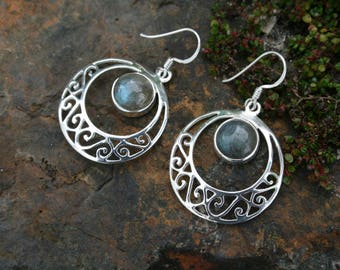 Moon Labradorite Earrings With Stunning Silver Detail