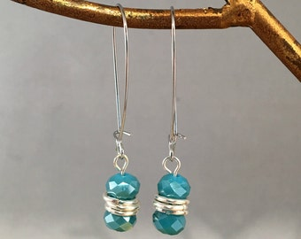 Aqua Czech Fire polished glass dangle earring