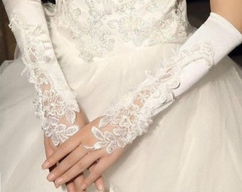 Pretty Bridal White Fingerless Pearl Beaded Long Bridal Wedding Gloves (One Size)
