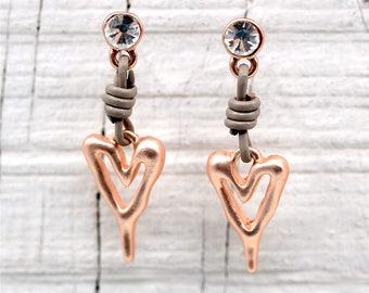 Copper & Leather Heart Earrings