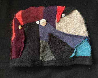 Handmade Cashmere Wool And 100% Merino Wool Hats, decorated with Vintage Buttons